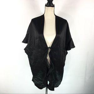 Victorias Secret Kimono Robe Black Satin One Size